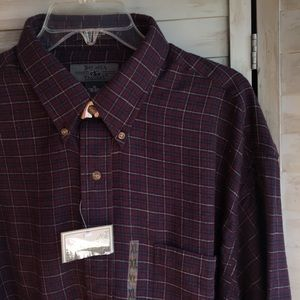 Maroon plaid flannel shirt Bay Area Traders XL NWT